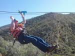 Charles doing the Koo Zip Slide 15km from us – by Glenda