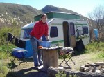 Stephanie at our old WWOOF Caravan – gone with the 2012 flood (the caravan!)